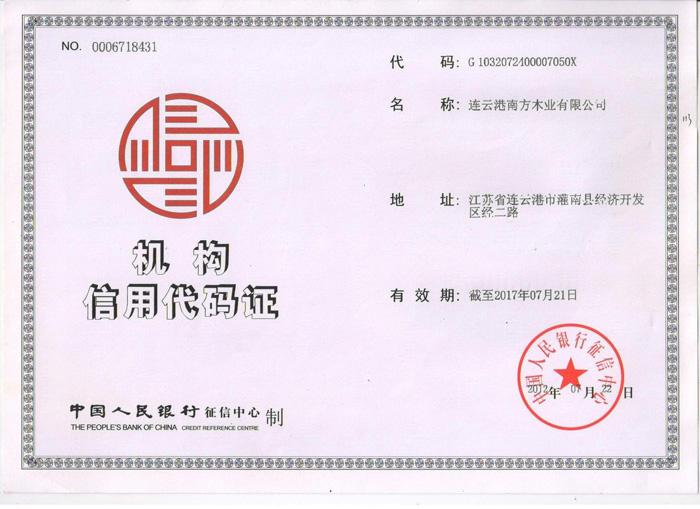 南方机构信用代码证